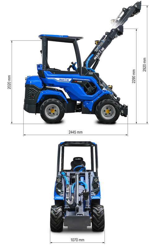 Multione 6.3 Mini Articulated Loader Lift Height
