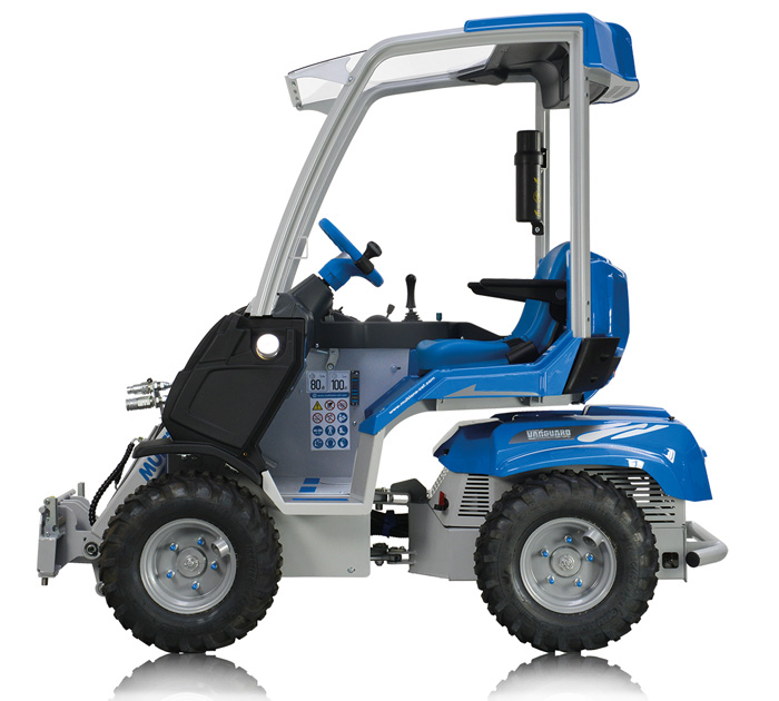 small mini articulated loader side